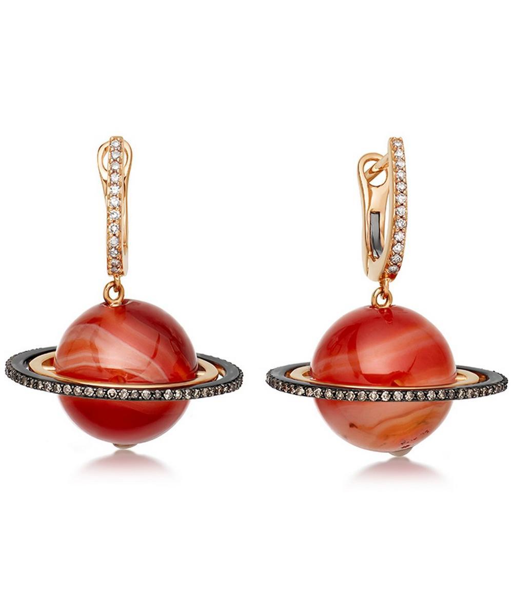Red Agate Saturn Drop Earrings