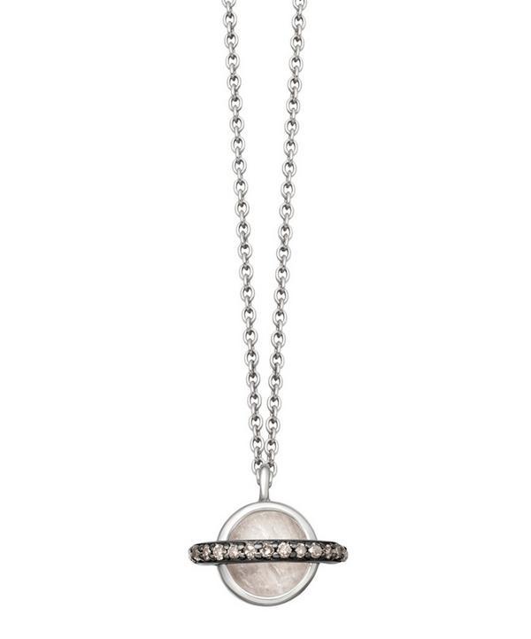 Rainbow Moonstone Mini Saturn Pendant Necklace