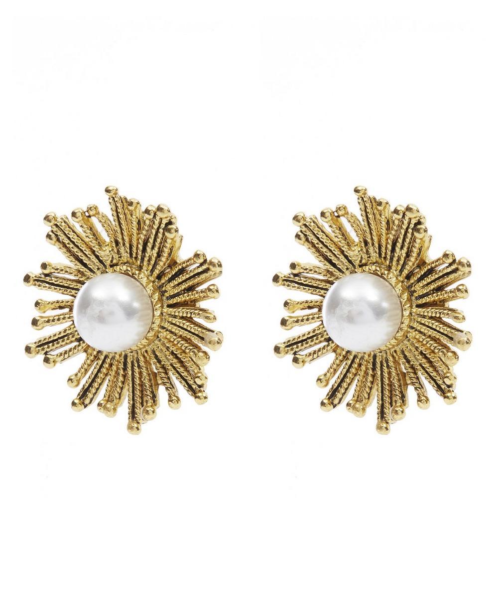 Glass Pearl Sunburst Earrings