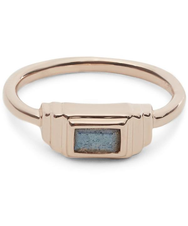 Rose Gold-Plated Labradorite Baja Deco Ring