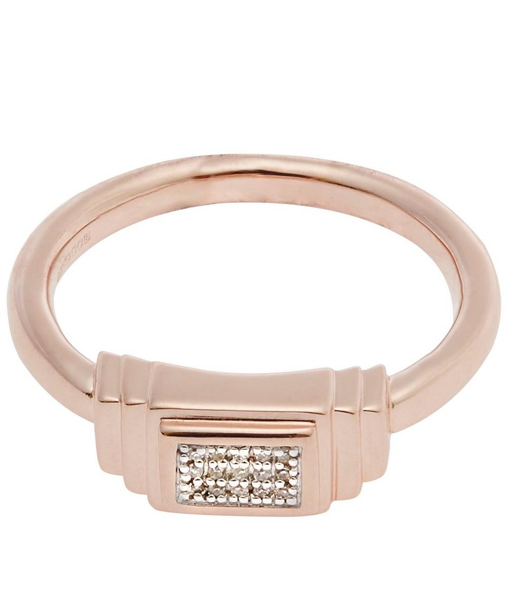 Rose Gold-Plated Baja Deco Diamond Ring