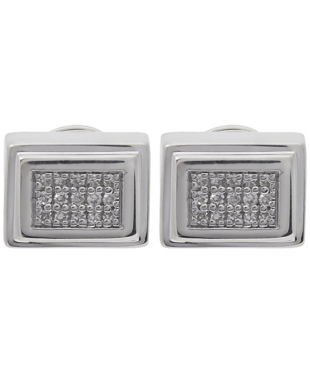 Silver Baja Deco Diamond Stud Earrings