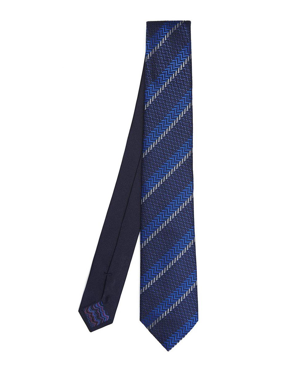 Block Stripe Diagonal Zig-Zag Woven Tie