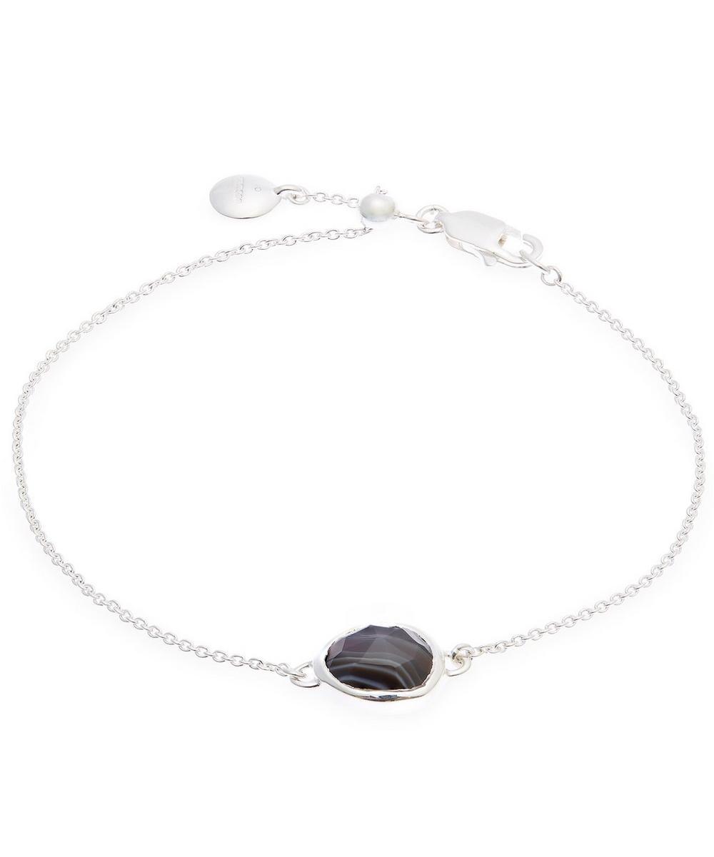 Silver Black Line Onyx Siren Fine Chain Bracelet
