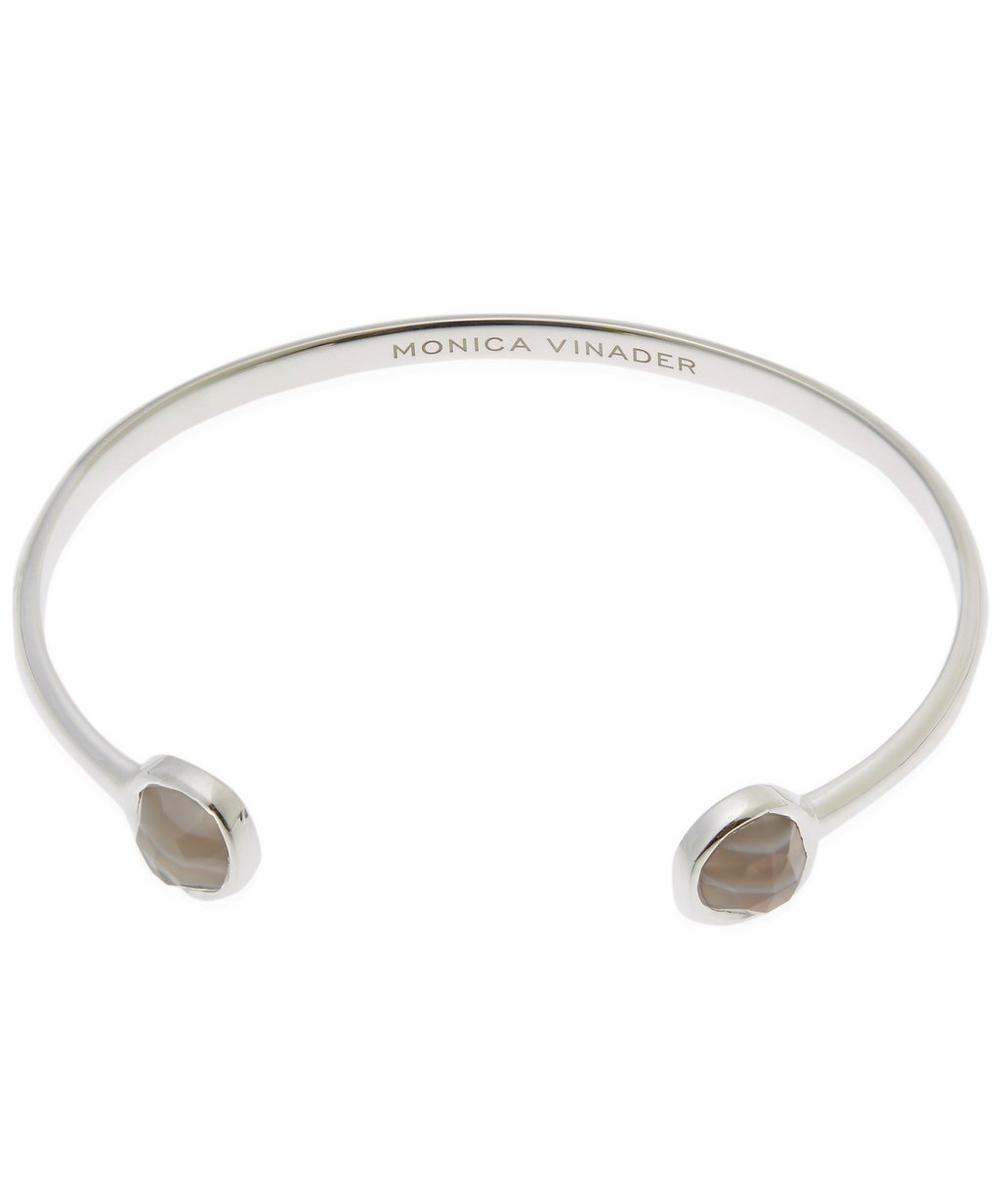 Silver Grey Agate Siren Thin Cuff Bracelet