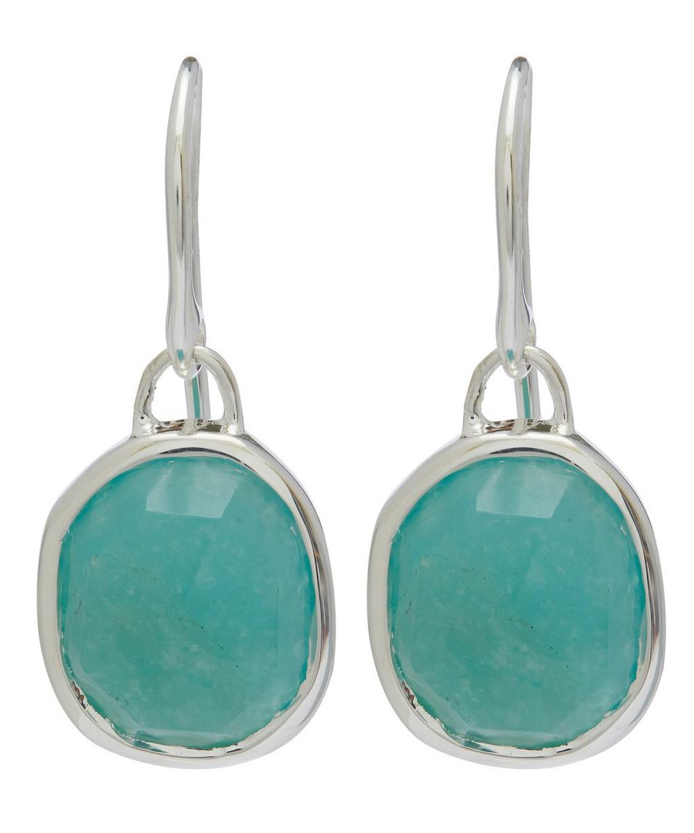 Silver Amazonite Siren Wire Earrings