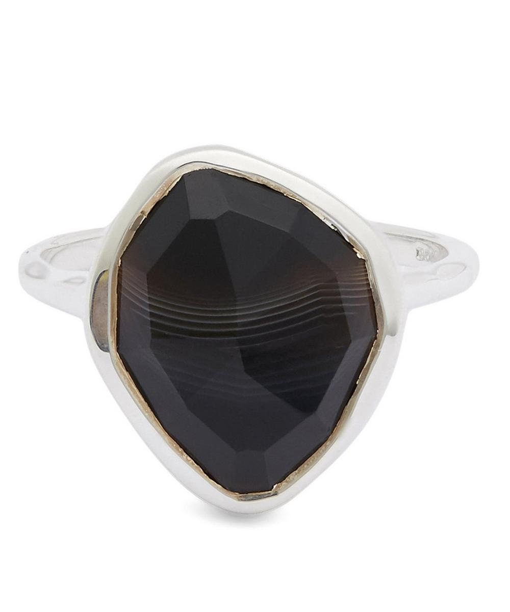Sterling Silver Black Onyx Siren Nugget Stacking Ring