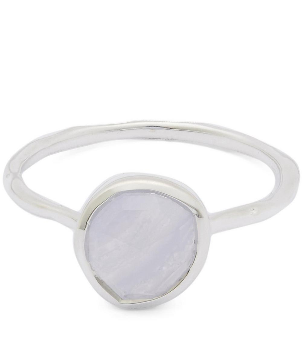 Silver Blue Lace Agate Siren Stacking Ring