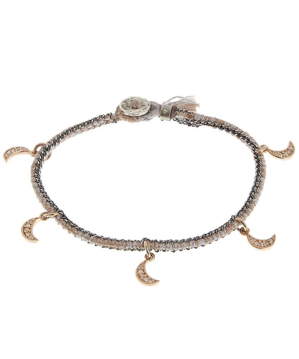 Gold and Diamond Crescent Moon Silk Woven Bracelet