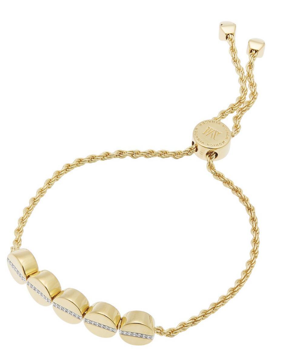 Gold-Plated Linear Bead Diamond Friendship Chain Bracelet