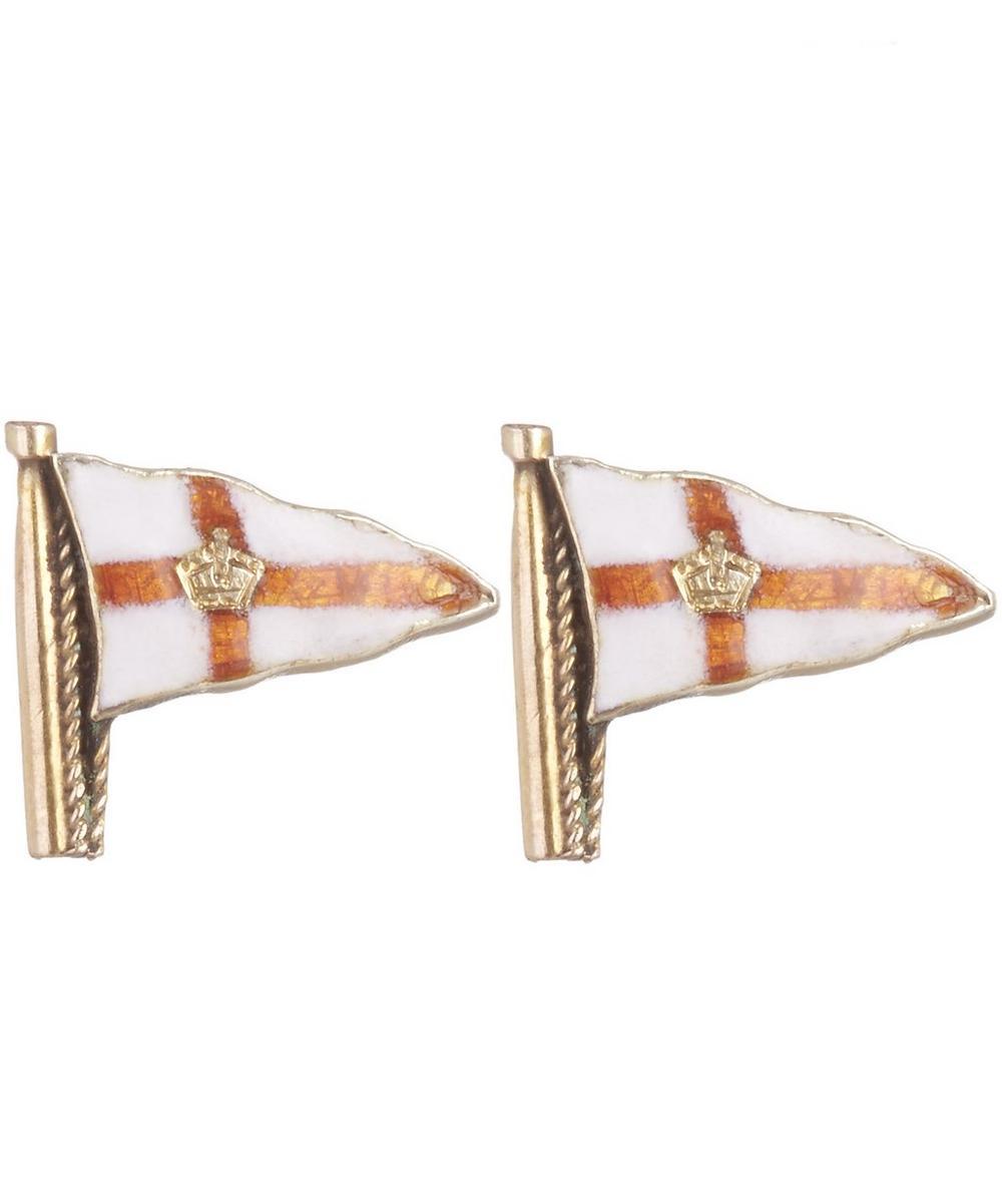 Gold England Flag Single Earring