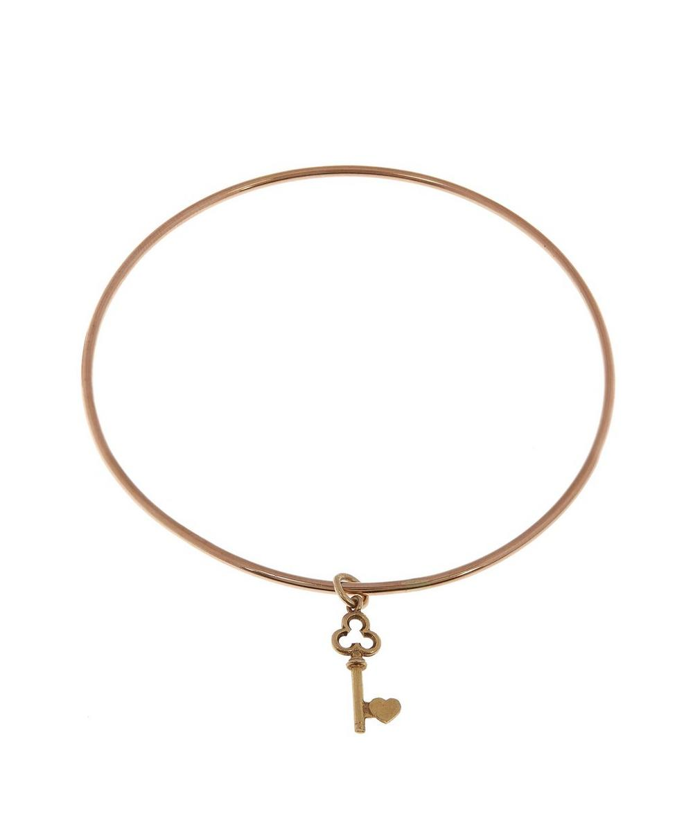 Rose Gold Vintage Heart Key Charm Bangle