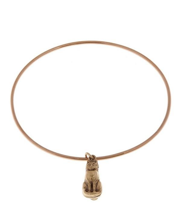 Rose Gold Vintage Cat Charm Bangle