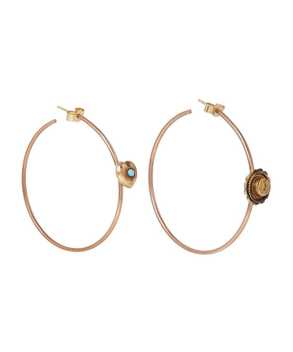 Rose Gold Vintage Turquoise Heart and Horseshoe Corsage Hoop Earrings