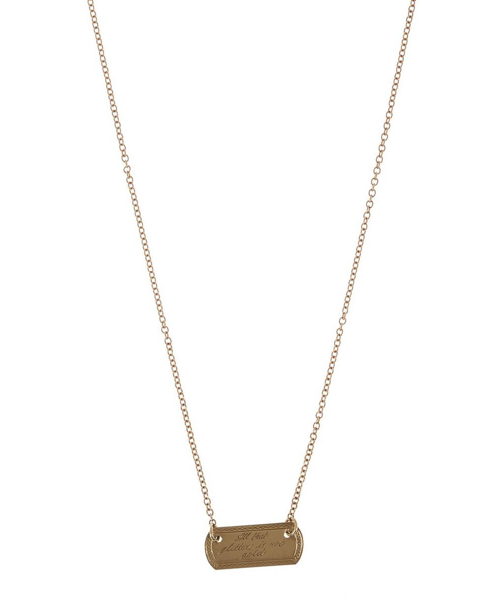 Gold Vintage All That Glitters Plaque Necklace