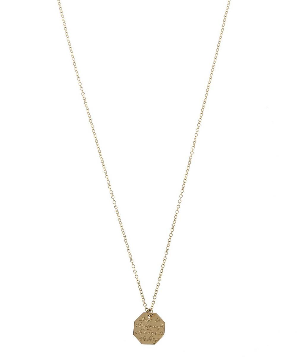 Gold Vintage Life Is The Flower Octagonal Pendant Necklace