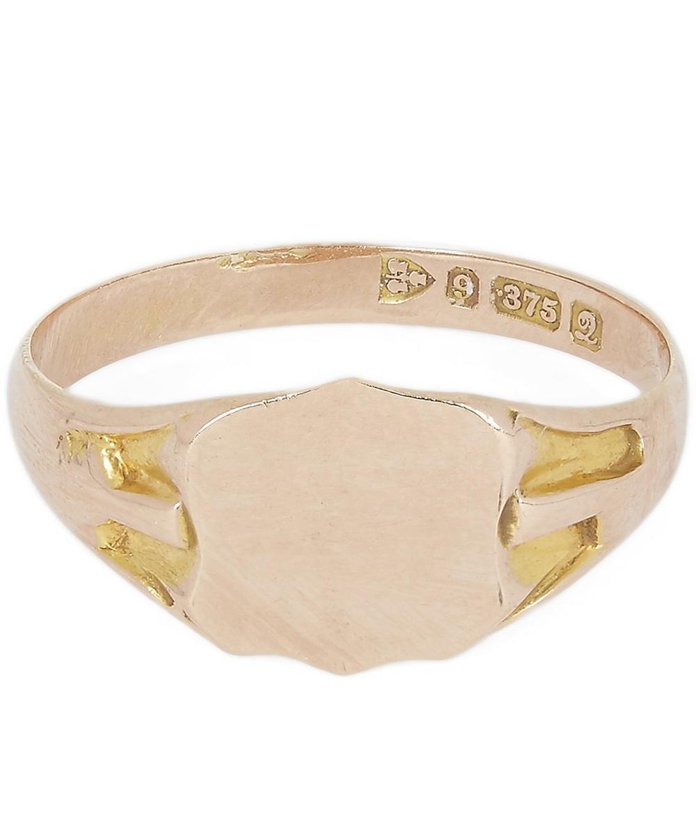 Gold Crest Signet Ring