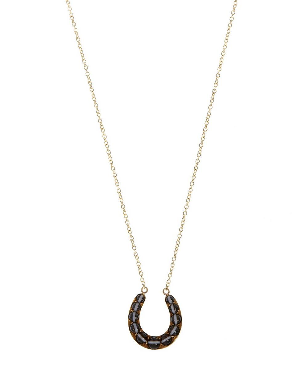 Gold and Banded Agate Horseshoe Necklace