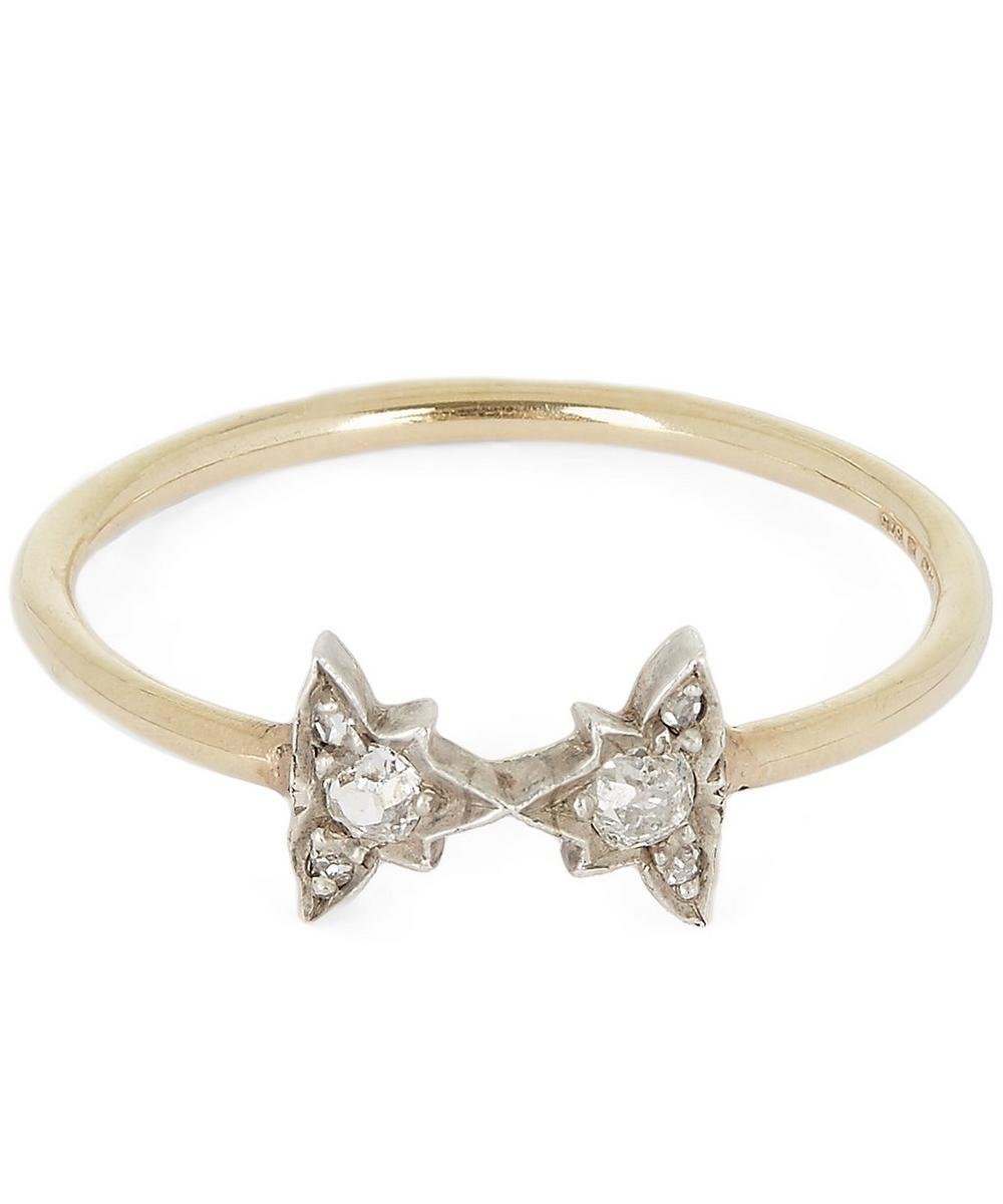 Gold and Diamond Bow Tie Ring
