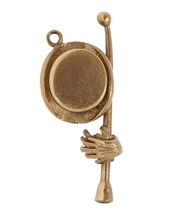 Gold Top Hat and Cane Charm