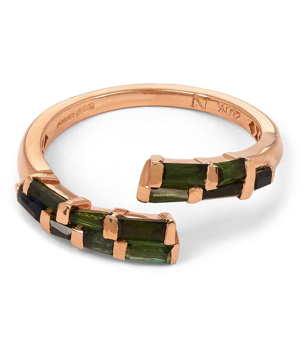Rose Gold Open Coil Green Tourmaline Ring
