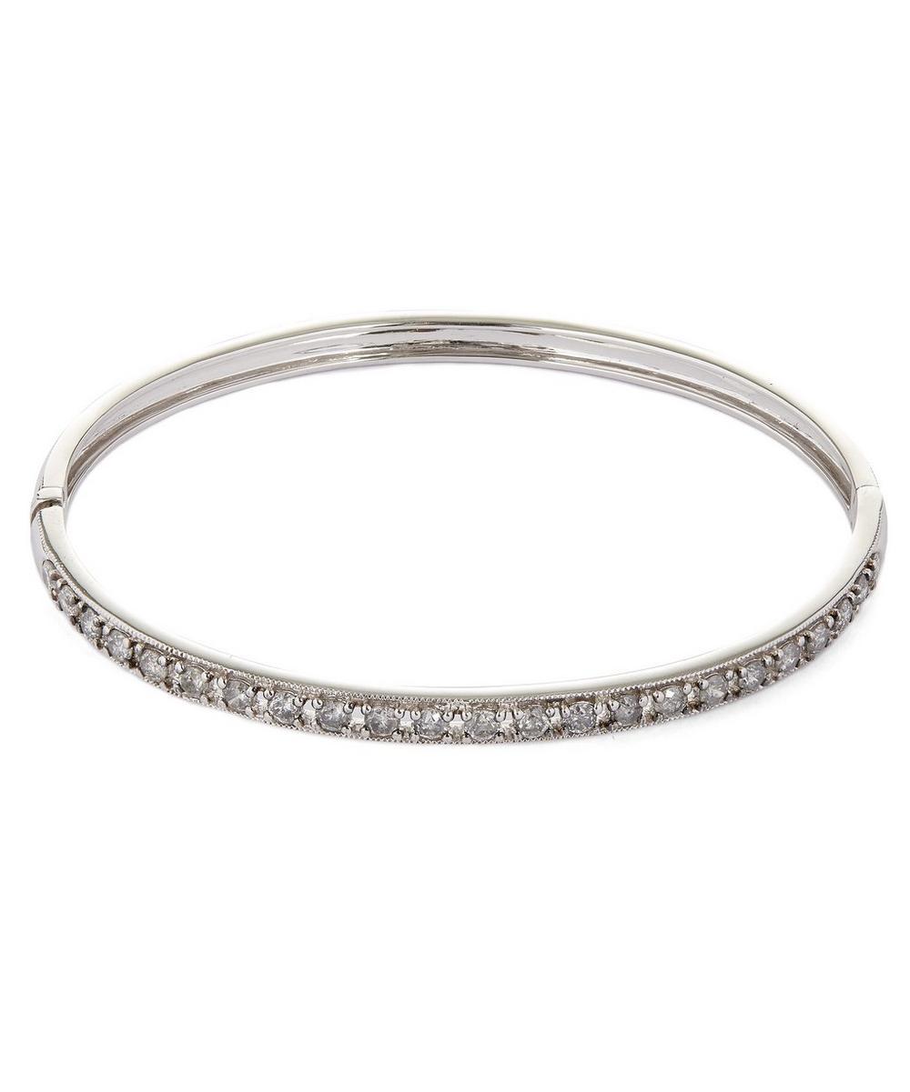 18ct White Gold Dusty Diamonds Line Bangle