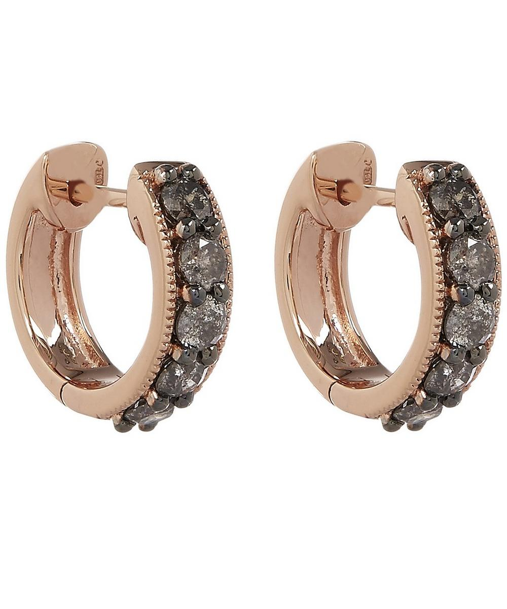 18ct Rose Gold Dusty Diamonds Hoop Earrings