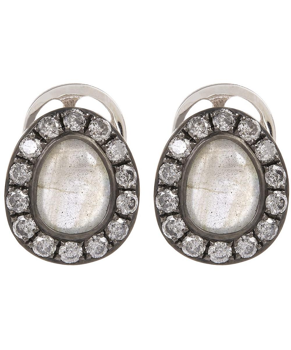 18ct White Gold Dusty Diamonds Labradorite Stud Earrings