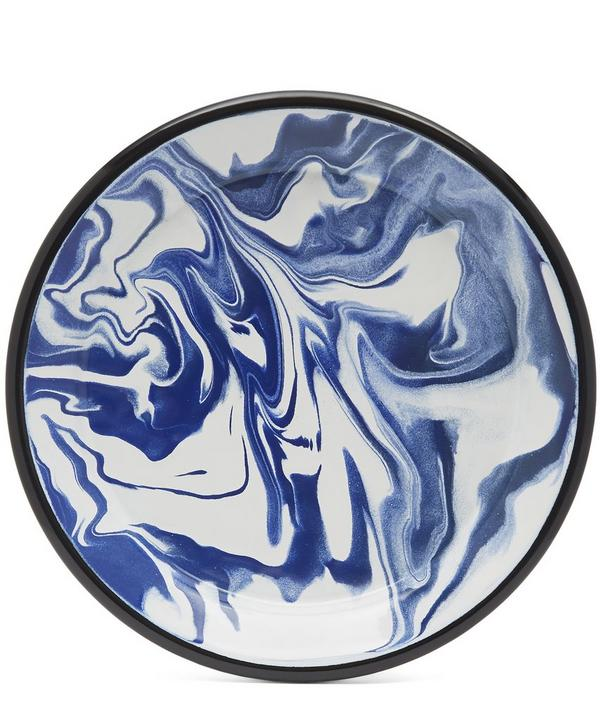 Marble Large Blue Flat Plate