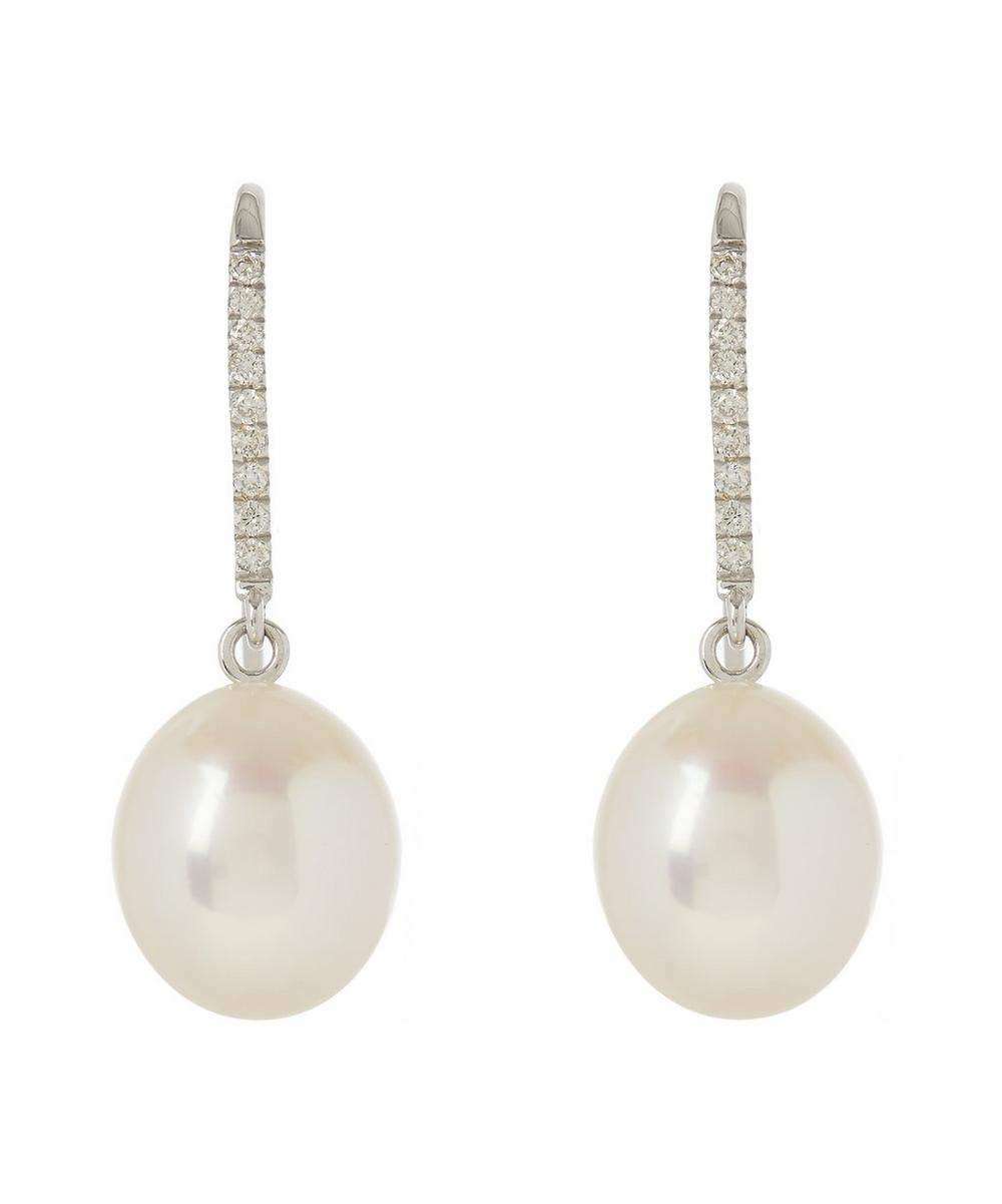 White Gold Pearl and Diamond Fishook Earrings