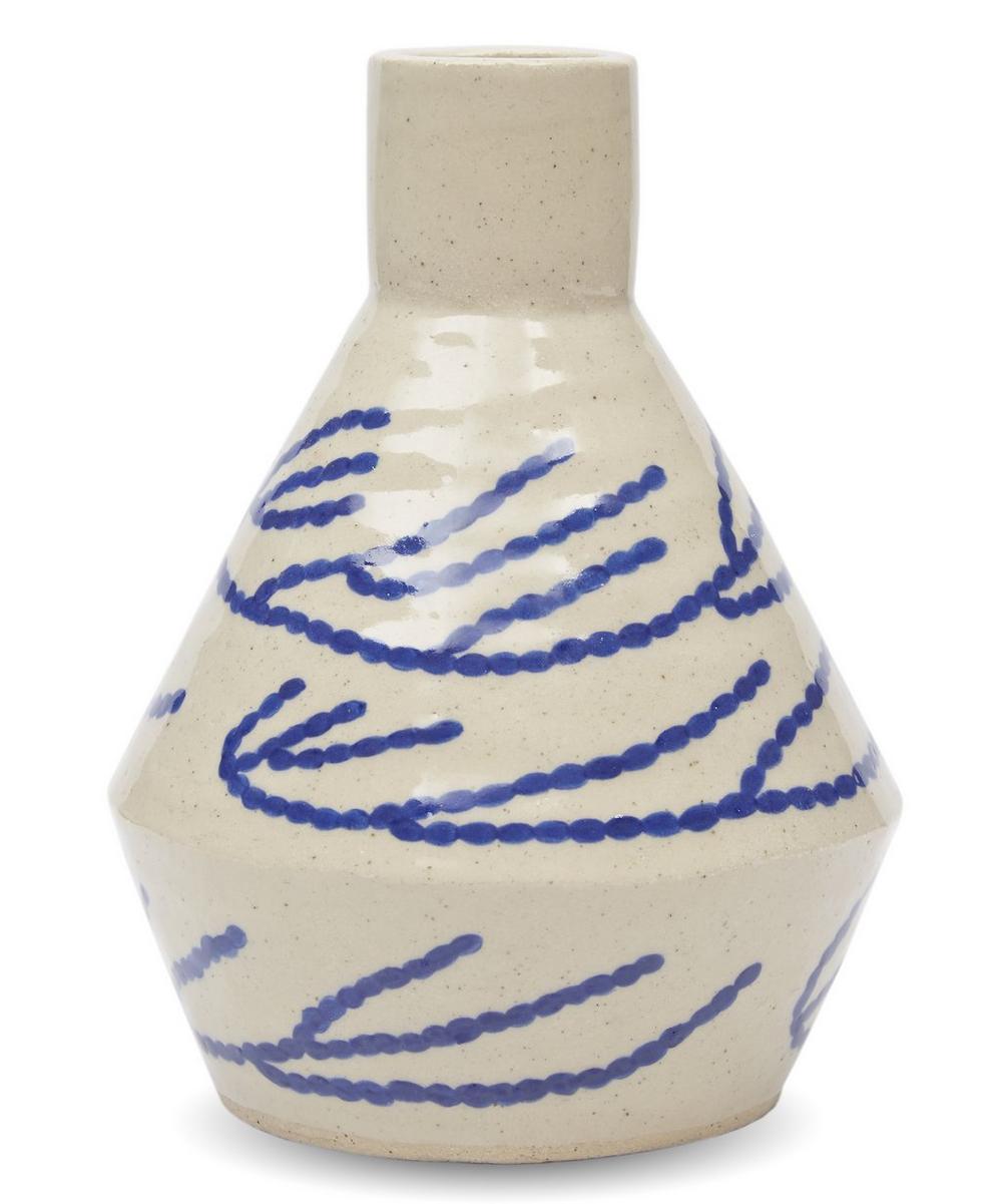 Medium Diamond Bottle Vase With Coral Motif