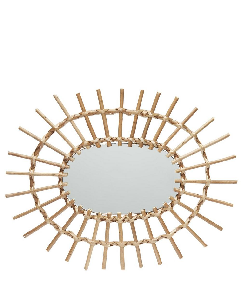 Oval Woven Willow Edge Mirror