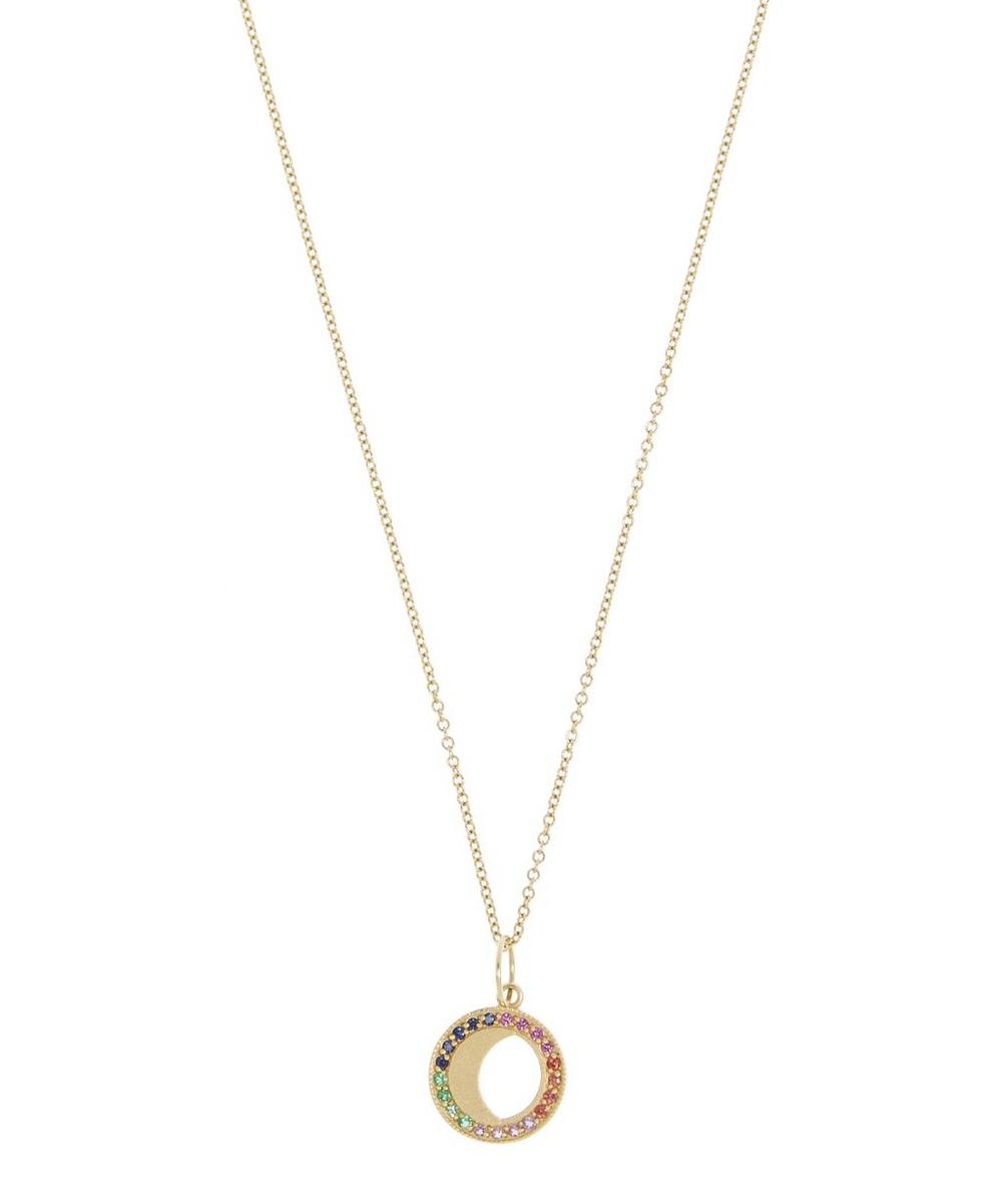 Gold Small Waning Gibbous Moon Phase Pendant