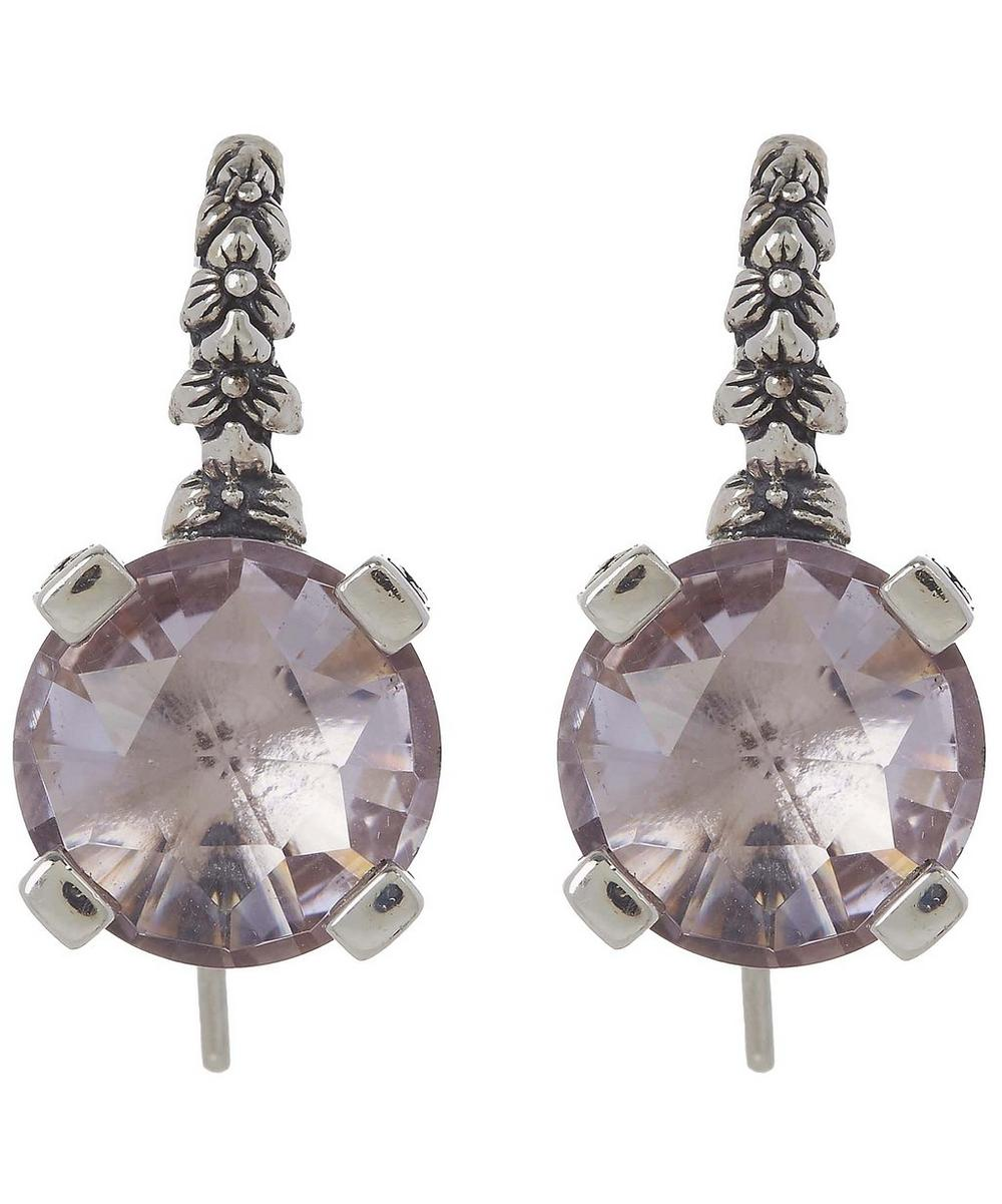 Silver Amethyst Engraved Floral Drop Earrings
