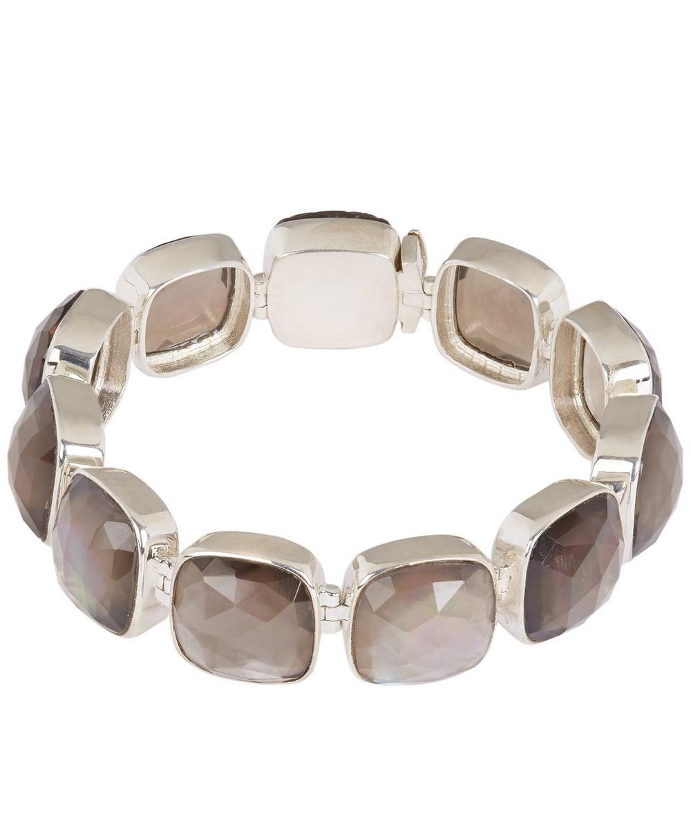 Silver Smoky Quartz and Mother of Pearl Large Line Bracelet