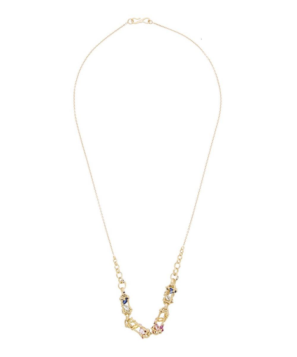 POLLY WALES GOLD LA FONTAINE SAPPHIRE LINK NECKLACE