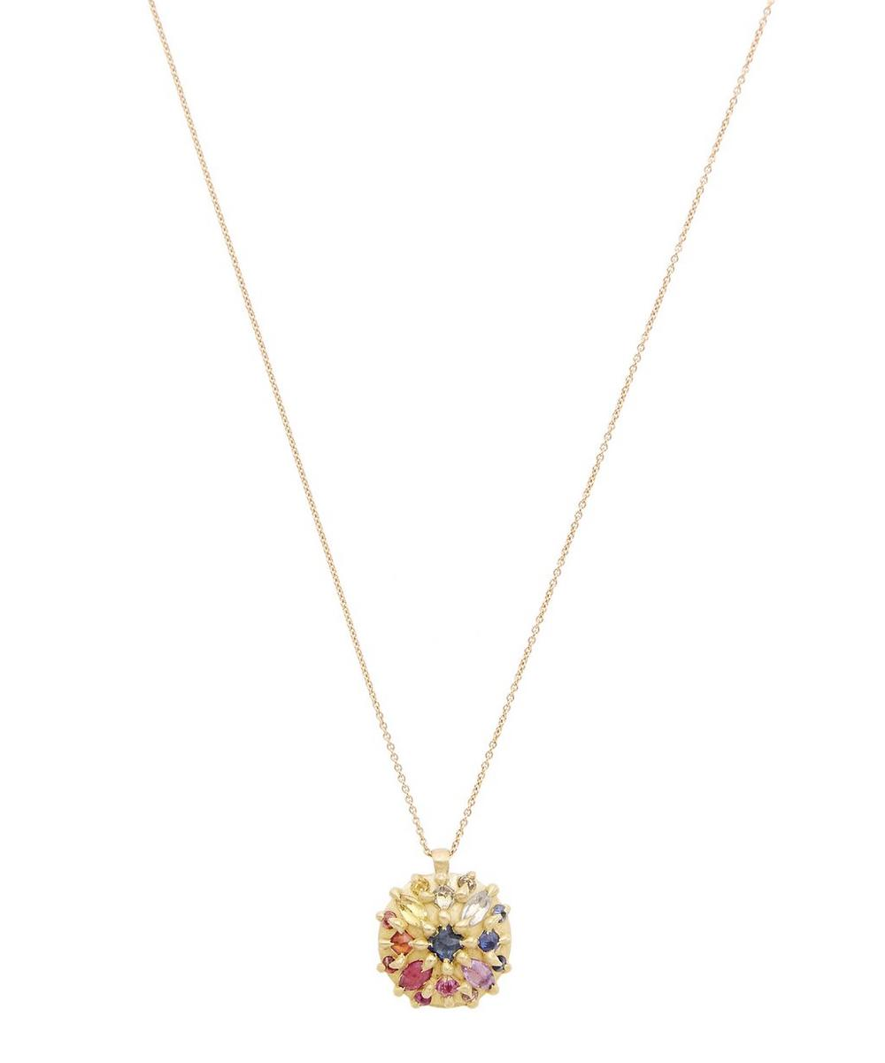 POLLY WALES GOLD OURIKA RAINBOW SAPPHIRE DOME PENDANT NECKLACE