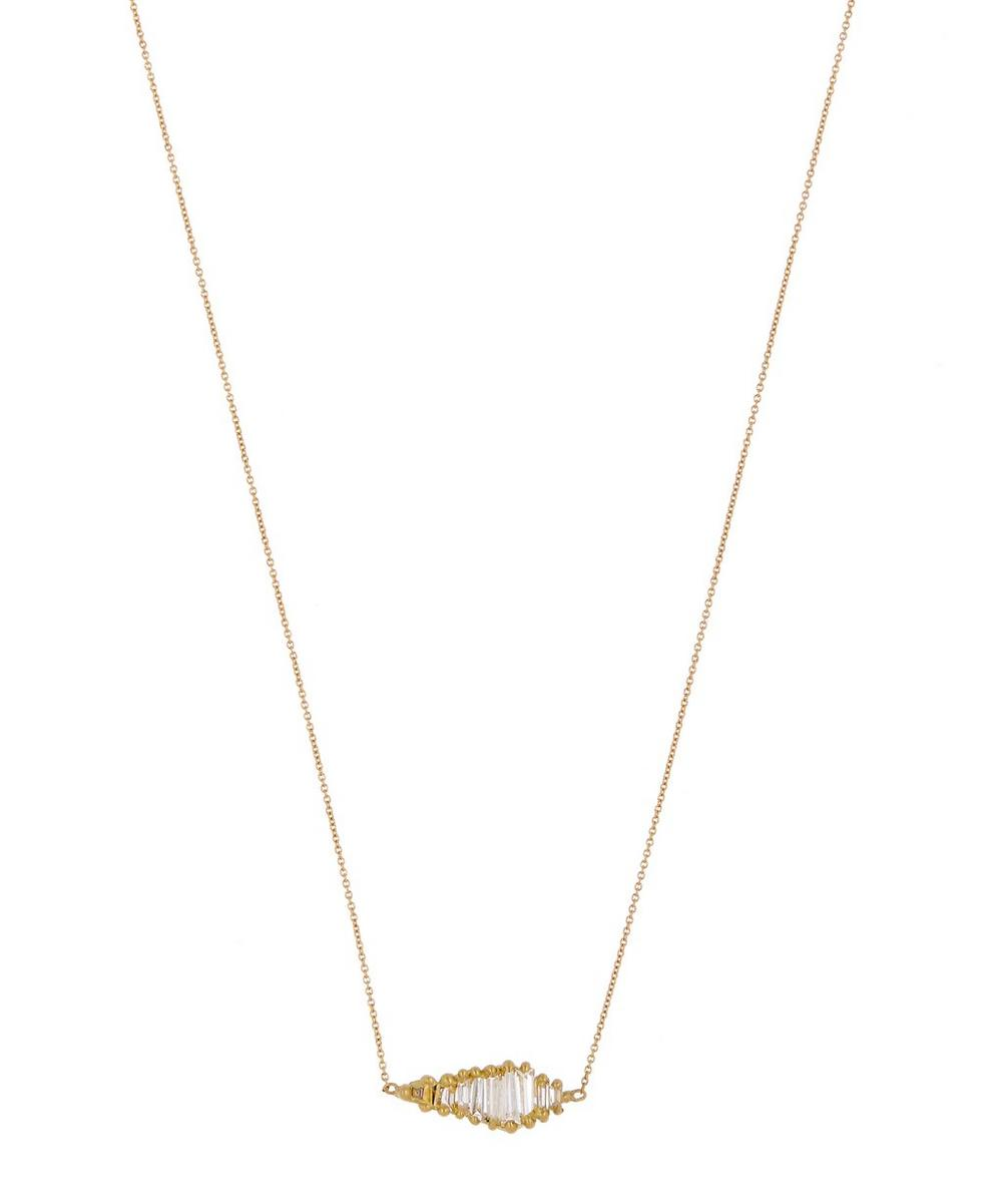 Gold Shard Diamond Halo Necklace