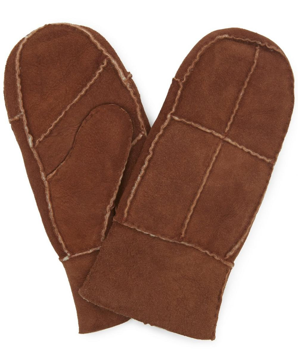 Patchwork Shearling Mittens Small-Large