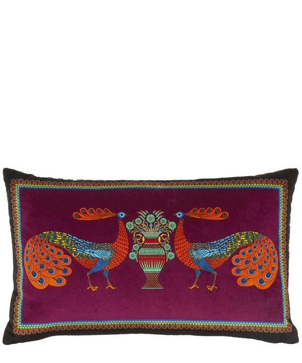 Peacock Garden Velvet Bolster Cushion