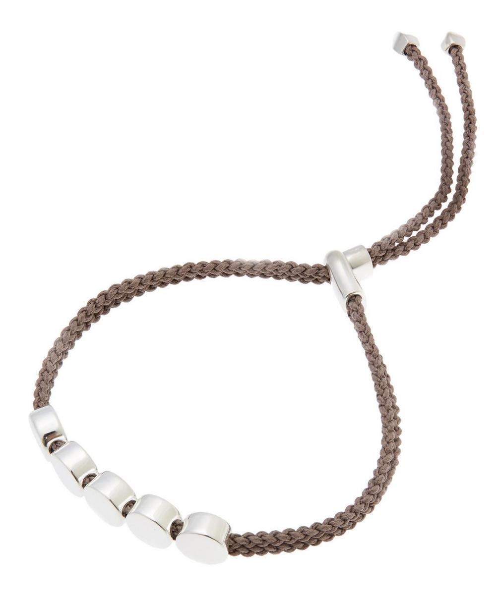Silver Mink Cord Linear Bead Friendship Bracelet