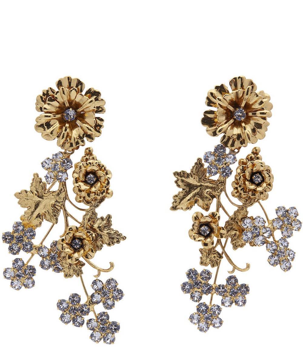 Viola Floral and Ivy Chandelier Earrings