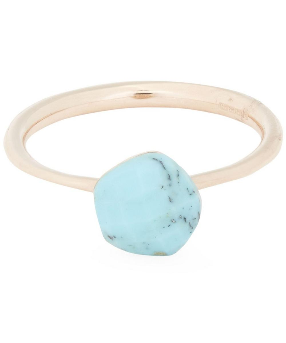 Rose Gold-Plated Nura Mini Turquoise Nugget Stacking Ring