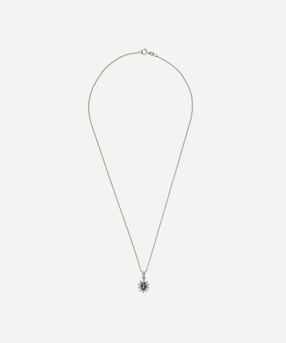 KOJIS WHITE GOLD DIAMOND SAPPHIRE AND DIAMOND CLUSTER PENDANT NECKLACE