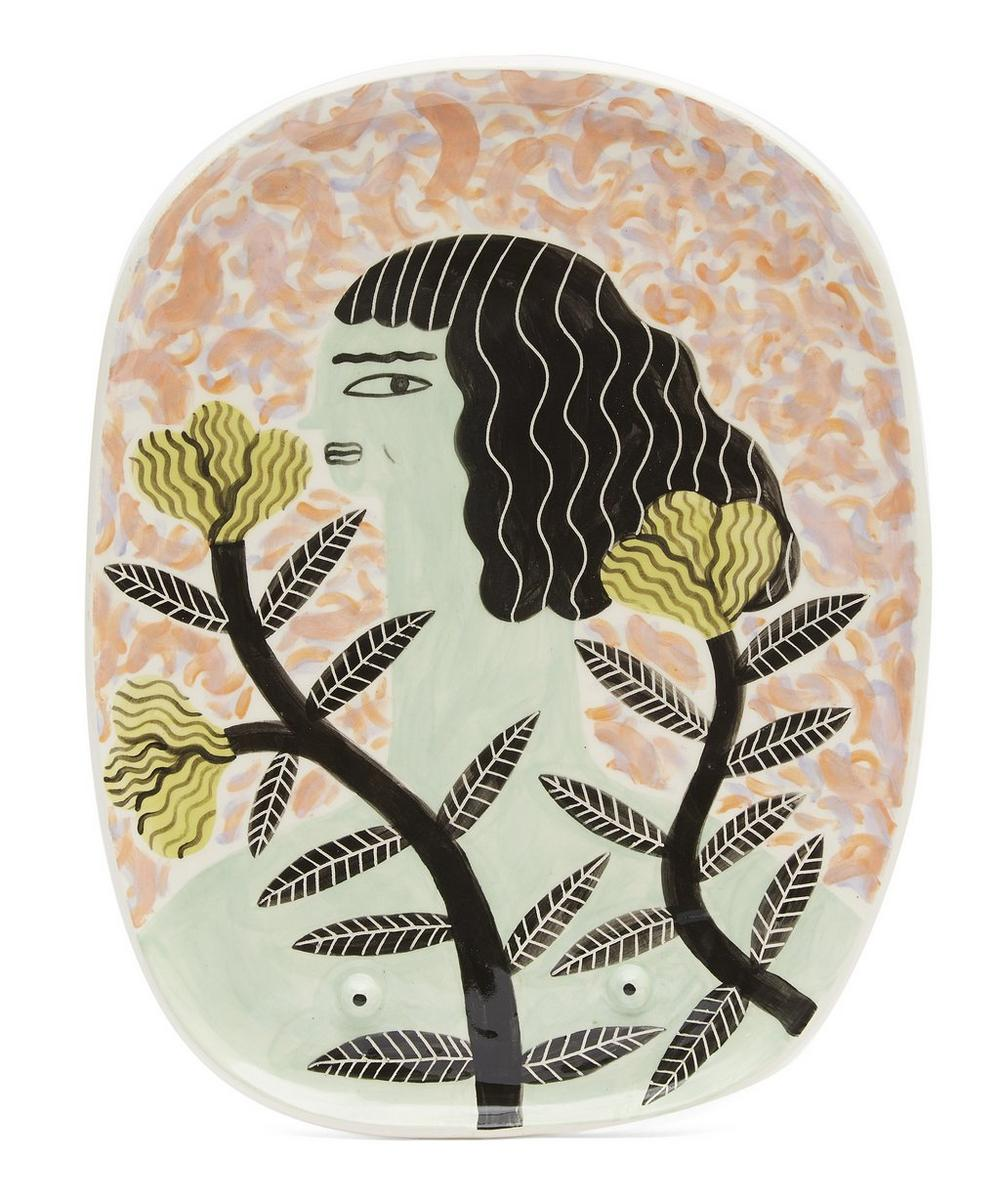 Green Girl Large Decorative Plate