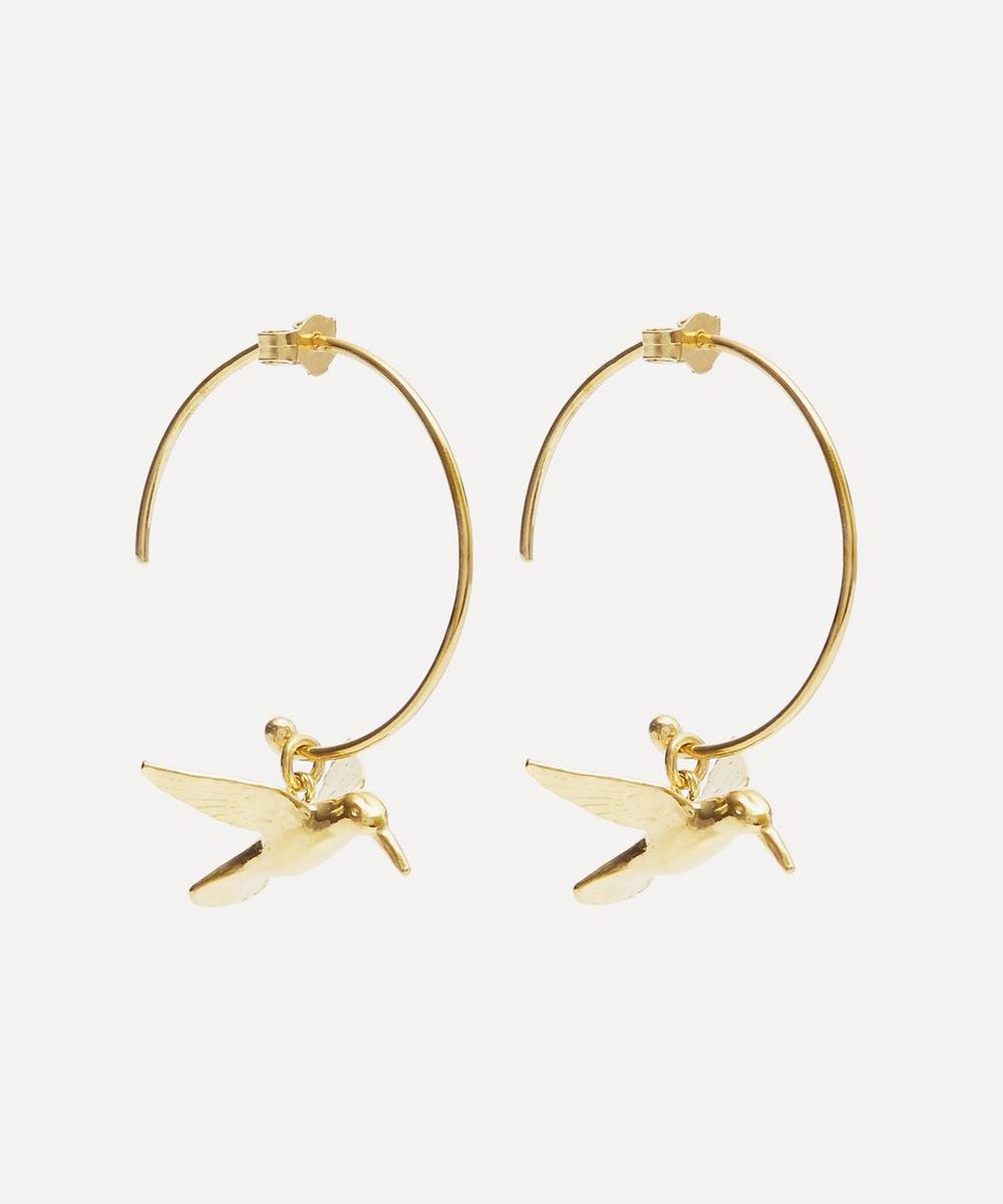 Gold-Plated Hummingbird Hoop Earrings