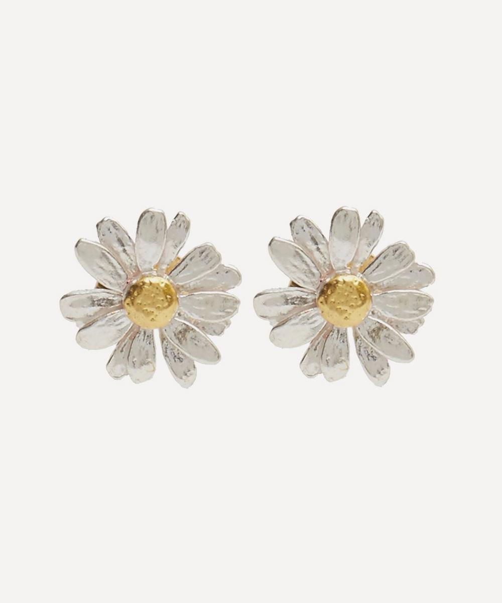 Silver and Gold-Plated Daisy Stud Earrings
