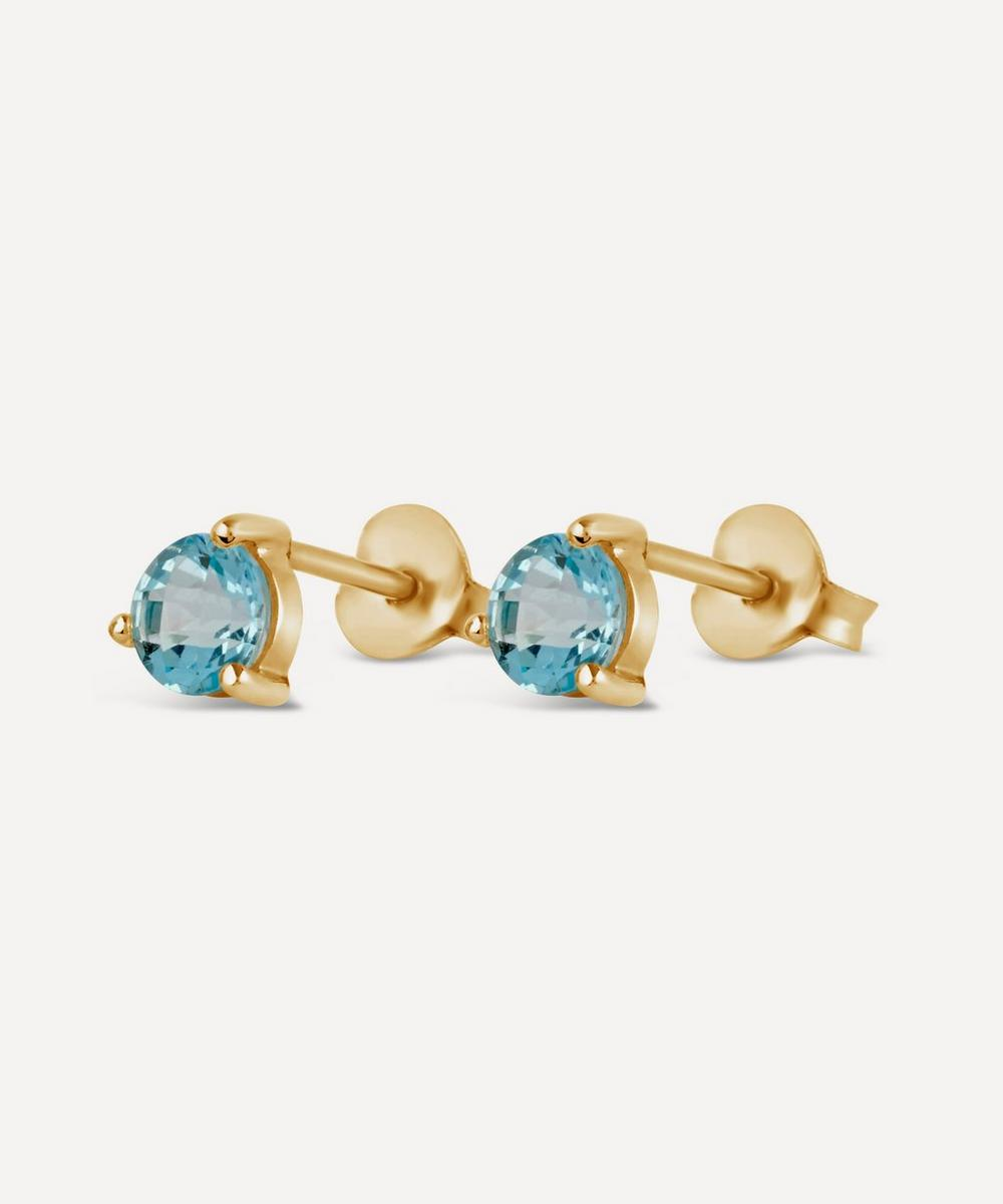Gold-Plated Gem Drops Sky Blue Topaz Round Stud Earrings