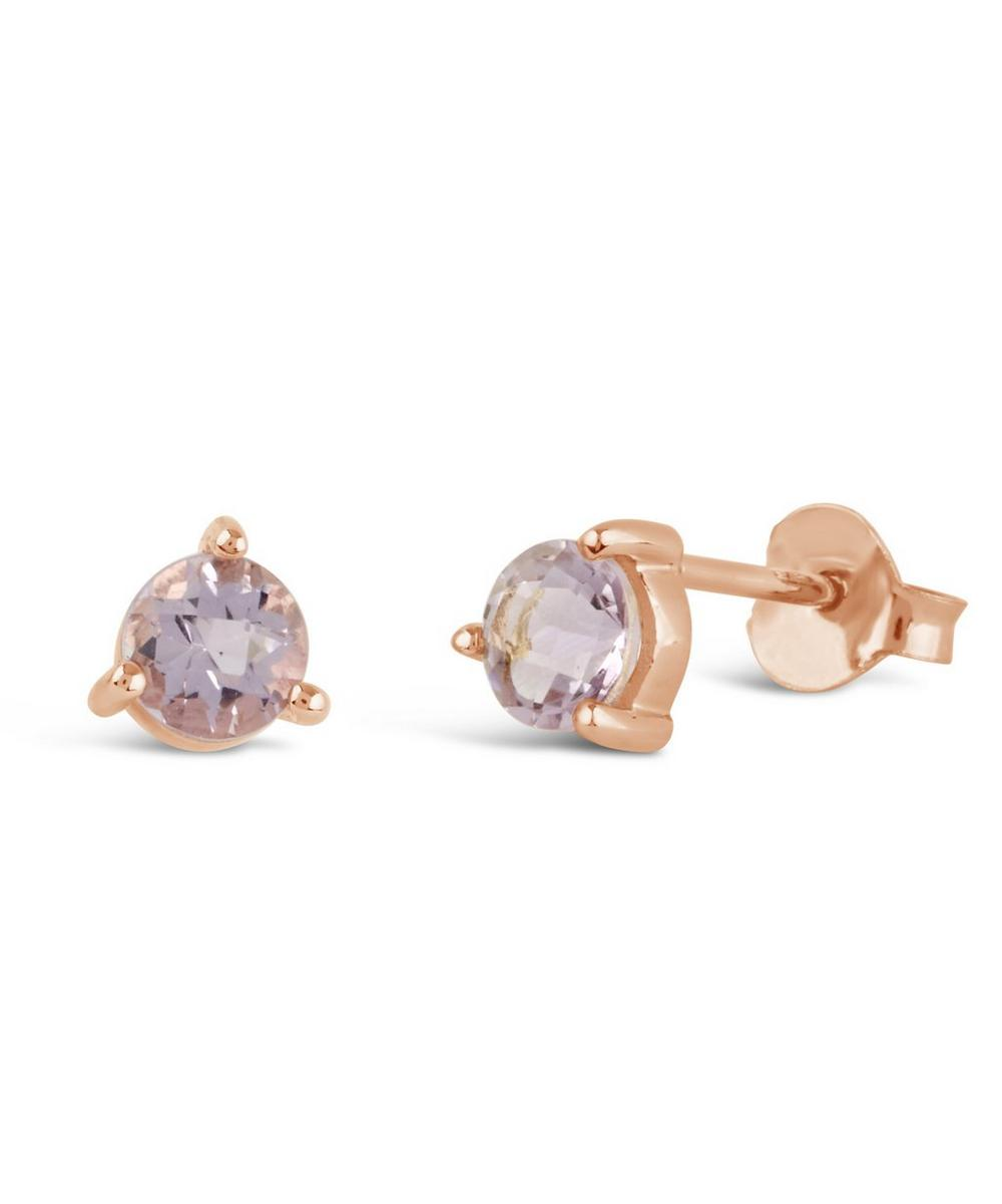 Rose Gold Gem Drops Rose de France Round Stud Earrings