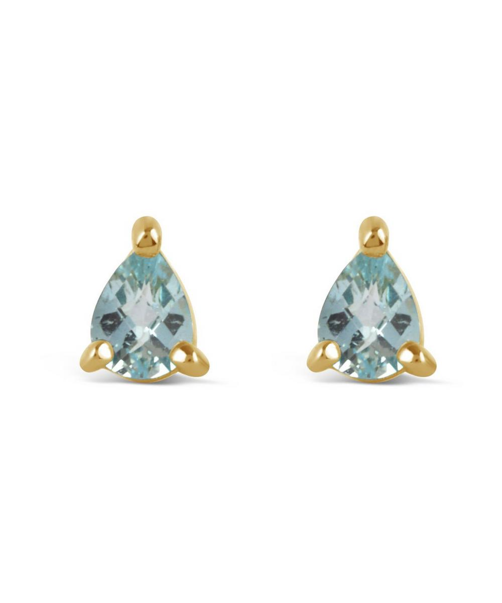 Gold-Plated Gem Drops Sky Blue Topaz Pear Stud Earrings